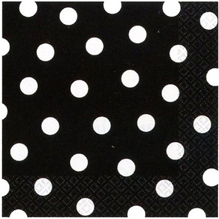 Black Beverage Napkins With White Polka Dots (16) **CLEARANCE**