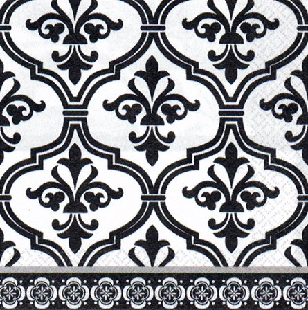 Black & White Damask Beverage Napkins (36) **CLEARANCE**