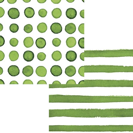Verdi Green Watercolor Polka Dots & Stripes Beverage Napkins (24)