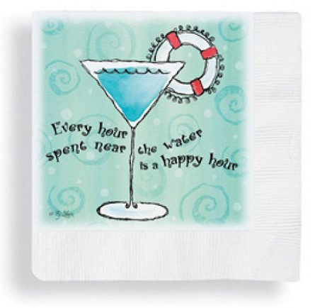 Martini With Life Ring Beverage Napkins