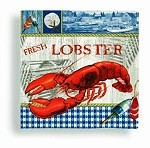 Fresh Lobster Gingham Beverage Napkins