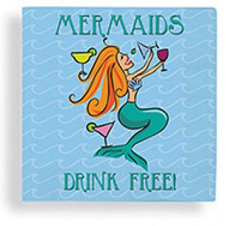 MERMAIDS DRINK FREE! Beverage Napkins (24)