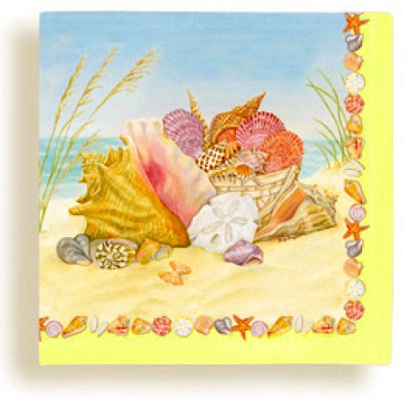 Ocean's Bounty Beach Shells Beverage Napkins (24)