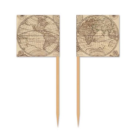 Old World Map Toothpick Flags (50)