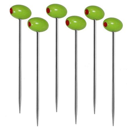 "4"" Green Olive Stainless Steel Shaft Picks (6)"