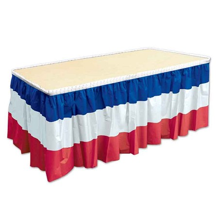 14-Foot Red, White & Blue Pleated Plastic Table Skirt
