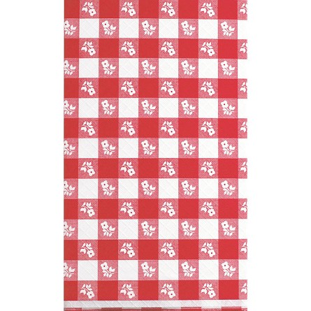 100-Ft Red Gingham Plaid Plastic Banquet Roll