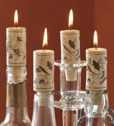 Realistic wine cork candles food chefs party decorations for Decorating with wine corks