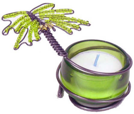 Beaded Green Palm Tree Tealight Candle Holder