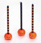 Pumpkins With Spooky Mini Taper Candles - Set of 3
