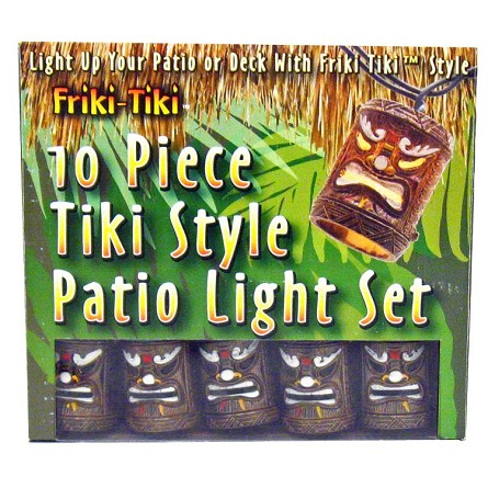 painted tiki god mask patio string lights hawaiian luau theme party