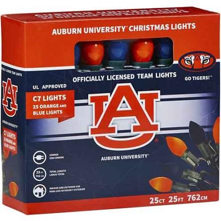 String Lights Tiger : Auburn University C7 Colored Bulb String Lights AU Tigers Christmas Decor