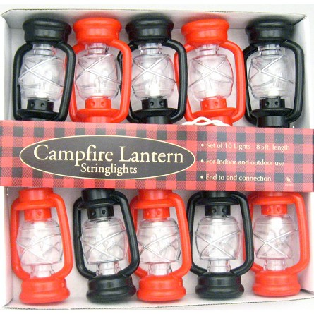 String Of Red Lantern Lights : Old-Fashioned Black & Red Hurricane Lantern String Lights Nautical Camping Country Western ...