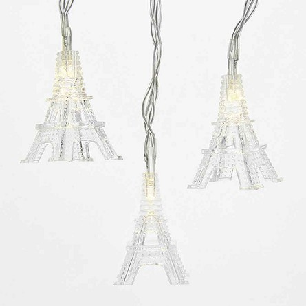 String Lights Eiffel Tower : 10 White LED Eiffel Tower String Lights - Battery Operated French & Parisian Theme Decorations