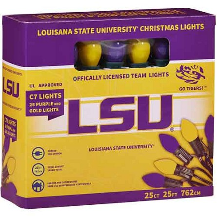 Louisiana State University C7 Colored Bulb String Lights