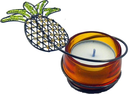 Beaded Amber Pineapple Tealight Candle Holders **CLEARANCE**