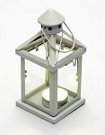 White Metal Tealight Lantern
