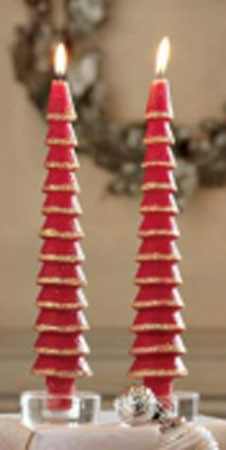 "11"" Glittered Red Tree Taper Candles (2)"