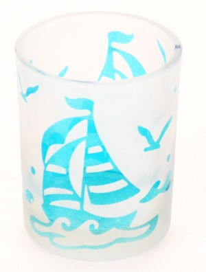 Teal Blue Etched Glass Sailboat Votive Holder