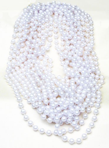 "48"" 10mm White Large-Pearl Party Bead Necklaces (12)"