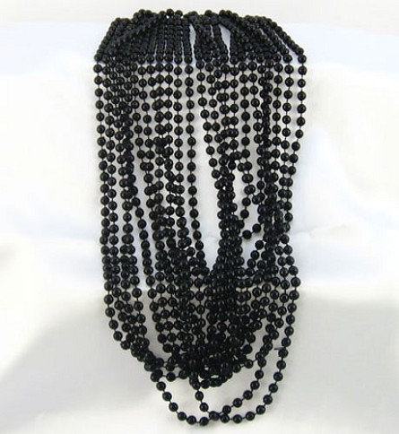 "33"" 7mm Round Black Party Beads (12)"