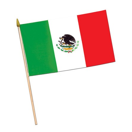 "Miniature 4"" x 6"" Rayon Mexican Flag"