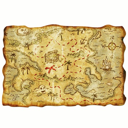 "12"" X 18"" Plastic Pirate Treasure Map and/or Placemat"