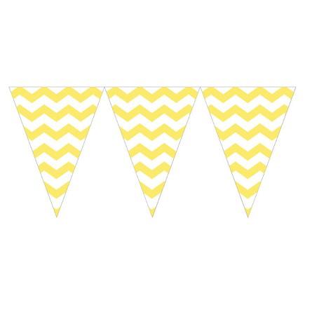 Mimosa Yellow Chevron Mini Plastic Pennants - 9-Foot