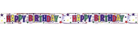 60-foot Metallic Happy Birthday Banner Tape **CLEARANCE**