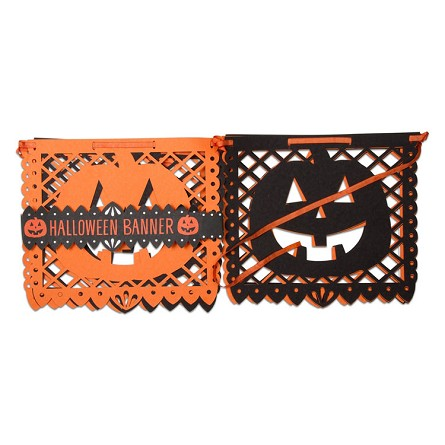 "72"" Halloween Jack-O-Lantern Perforated Paper Banner"