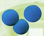 "9.5"" Royal Blue Round Paper Lanterns (3)"