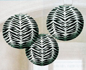 "9.5"" Zebra Striped Round Paper Lanterns (3)"