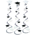 Silver Ceiling Swirls With Black & White Grad Caps (3)
