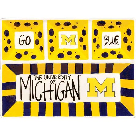 "13"" x 10"" University of Michigan 4-Section Ceramic Platter"