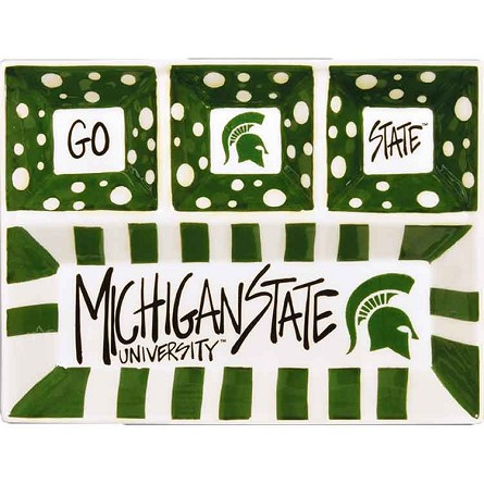 "13"" x 10"" Michigan State University 4-Section Ceramic Platter"