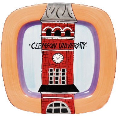 "13.75"" Clemson University Tillman Clock Tower Ceramic Square Icon Platter"