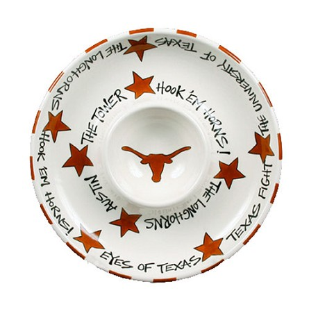 "12"" University of Texas Ceramic Circle Chip & Dip"
