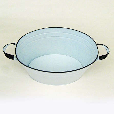 "White Enamel Oval Beverage Tub - 19"" x 12"" x 7"""
