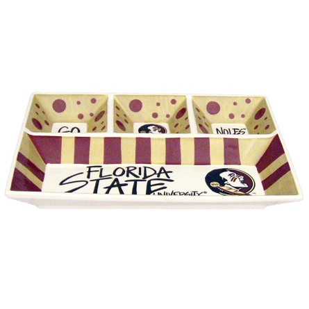 "13"" x 10"" Florida State University 4-Section Ceramic Platter"