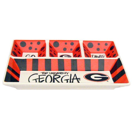 "13"" x 10"" University of Georgia 4-Section Ceramic Platter"