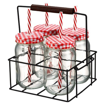 Gingham-Top Mason Jar Glasses (4) With Straws & Caddy