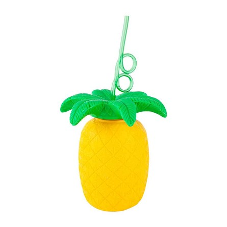 Pineapple Plastic Sipper Cup & Crazy Straw