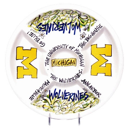 "14.5"" University of Michigan Ceramic Veggie Platter"