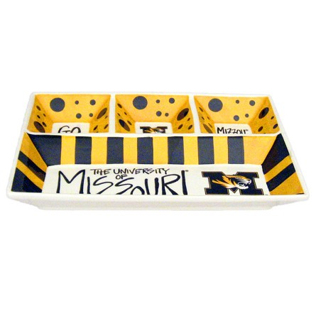 "13"" x 10"" University of Missouri 4-Section Ceramic Platter"