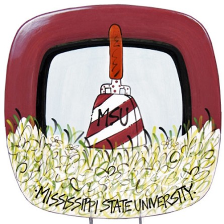 "13.75"" Mississippi State University Cowbell Ceramic Square Icon Platter"