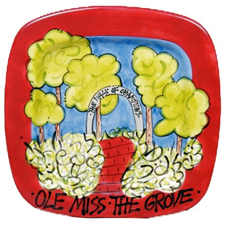 "13.75"" University of Mississippi The Grove Ceramic Square Icon Platter"