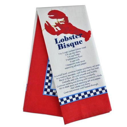 Classic Lobster Bisque Recipe Dish Towel
