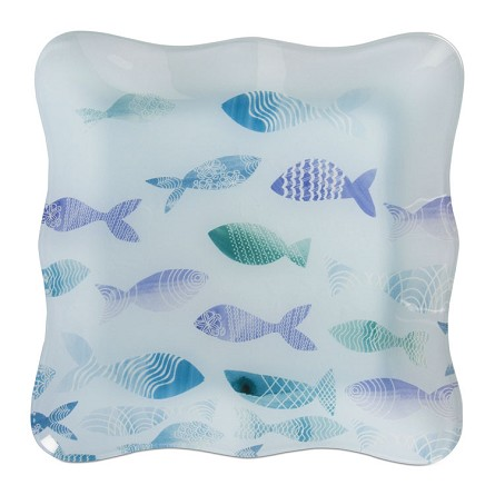 "8"" Square School of Fish Glass Serving Tray"