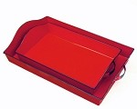 Red Enamel Handled Rectangle Trays (2)