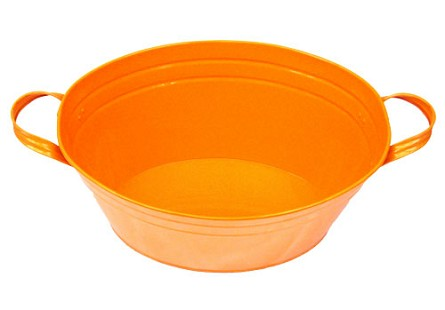 "Orange Enamel Oval Beverage Tub - 19"" x 12"" x 7"""